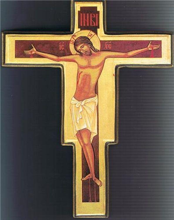 Icône Croix Christ Bysantin 14 x 19 cm