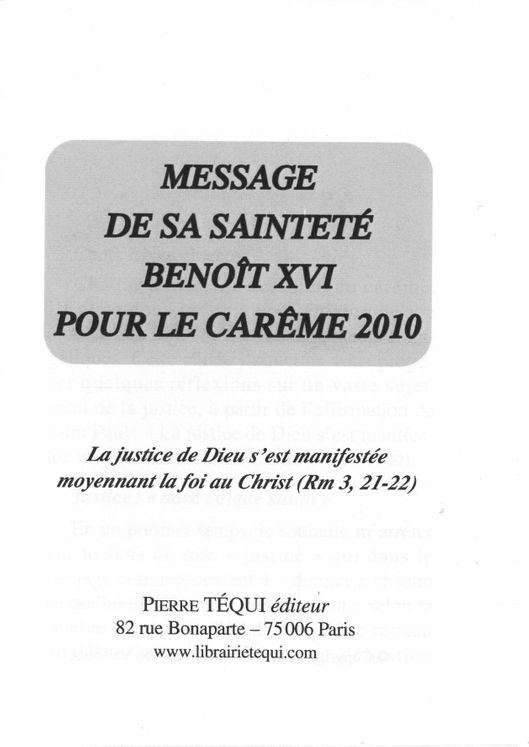 Message de S.S. Benoît XVI pour le carême 2010