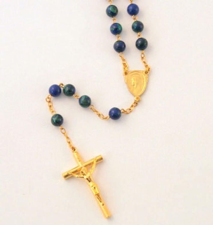 Chapelet sur chaine dorée, perle en Azurit Malachite  ronde de 6mm