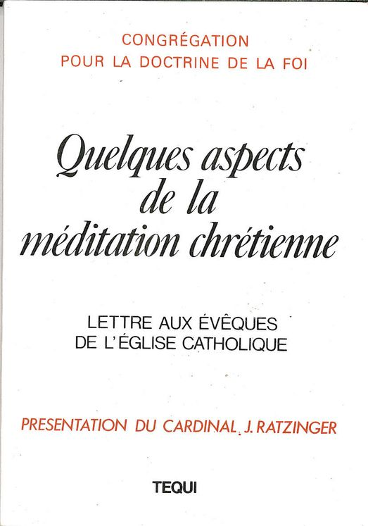 Quelques aspects de la méditation chrétienne