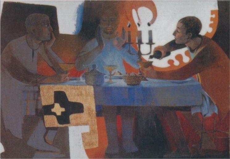 Icône collée Le repas Arcabas - 14,5 x 10 cm