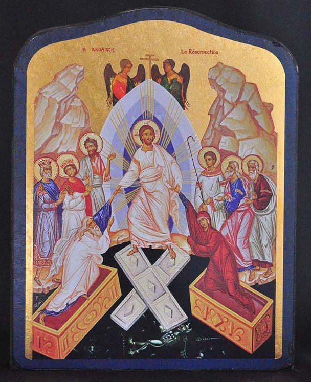 Icône qualité Or  La Résurrection 19,5 x 23,5 cm