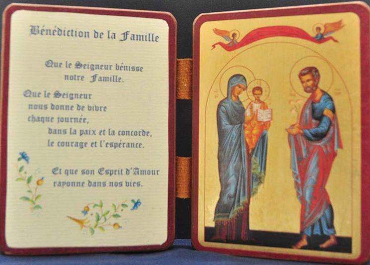 Icône diptyque qualité or La Sainte Famille et prière Bénédiction de la famille