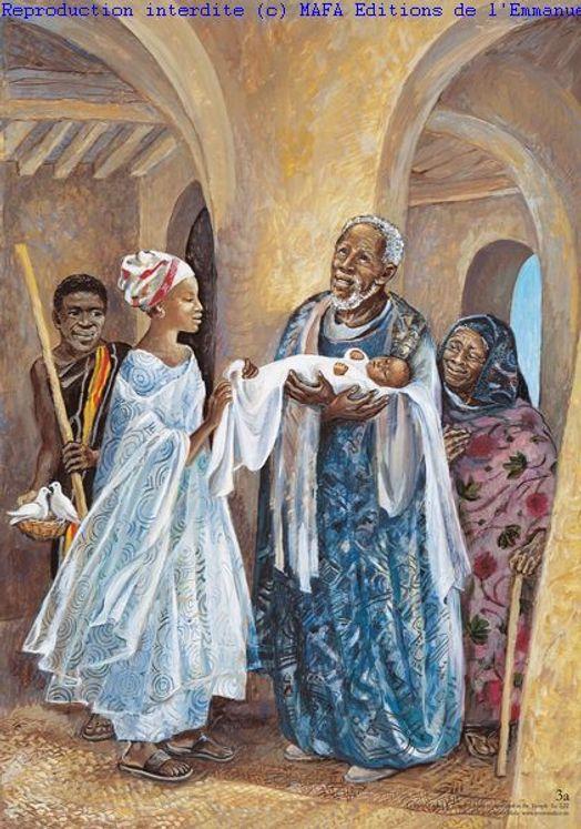 La Présentation au Temple (Lc 2,22), Carte simple Vie de Jésus Mafa