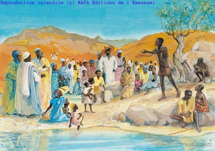 Jean-Baptiste au désert  (Mt 3,11), Carte simple Vie de Jésus Mafa