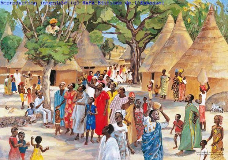 Zachée accueille Jésus (Lc 19,1), Carte simple Vie de Jésus Mafa