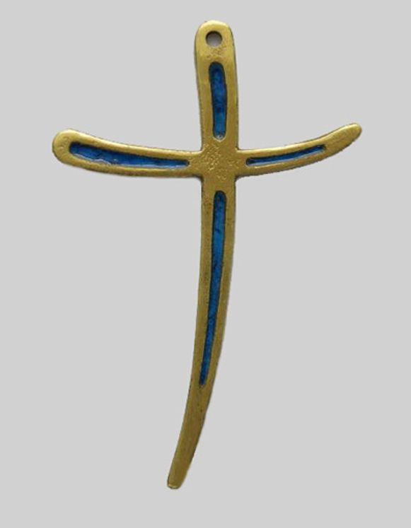 Croix murale en bronze  émaillé ´´croix il est vivant´´