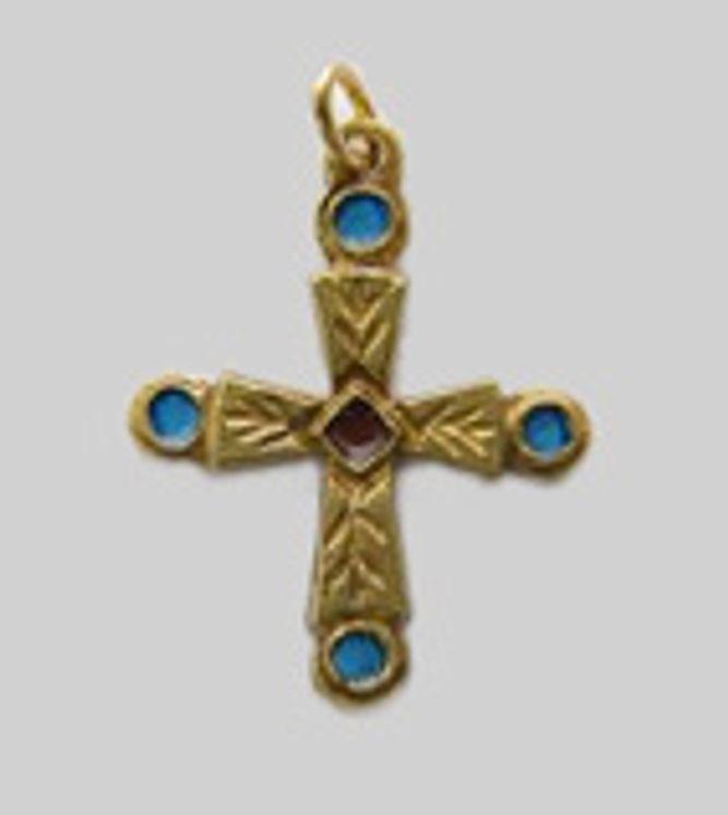 Petite croix en bronze émaillé
