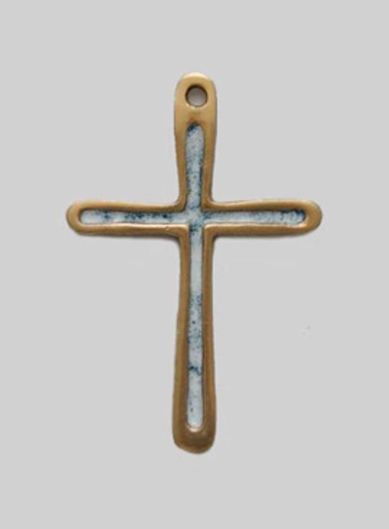 Croix pendentif ou murale en bronze émaillé