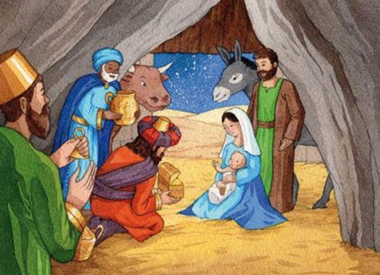10 cartes doubles nuit de Noël - L´adoration des rois mages