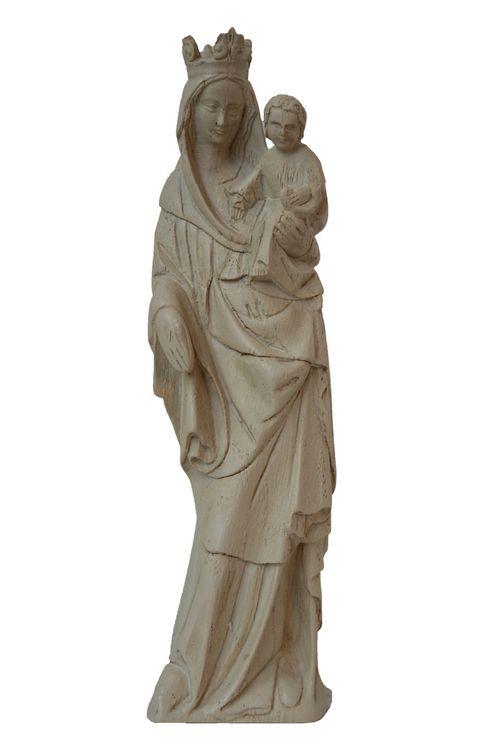 Statue Vierge XVème, résine ivoirée