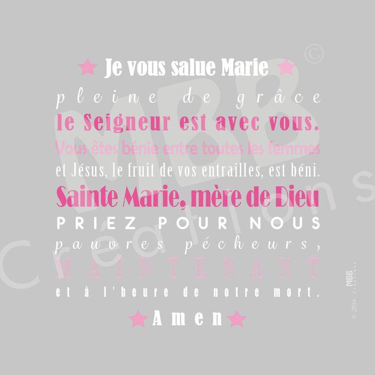 """Toile prière Gris/rose """"Je vous salue Marie"""" - Format 20 x 20"""