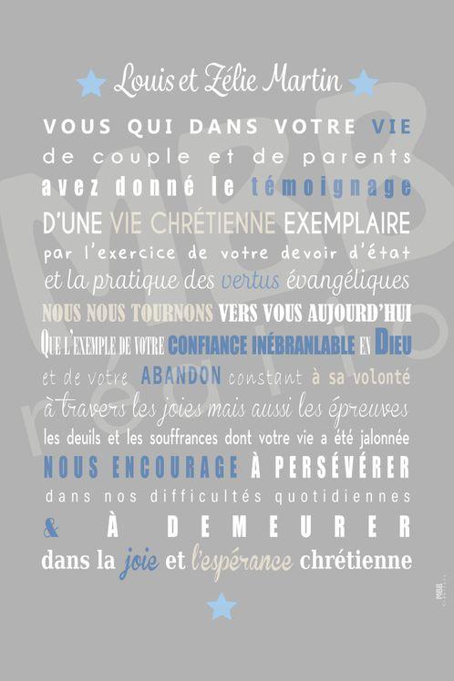 """Toile prière Gris/Bleu """"Louis et Zélie Martin"""" - Format 40 x 30"""