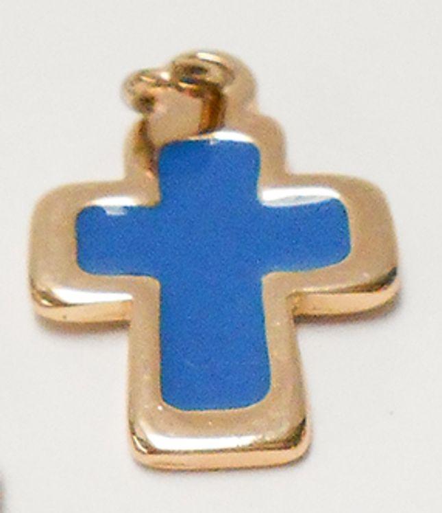 Croix pendentif métal doré, émaillée bleu - 28 x 17 mm