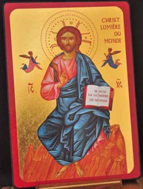 Icône qualité Or Christ Lumière du monde 13 x 20 cm