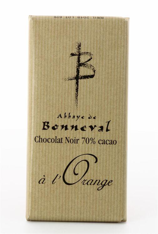 Chocolat noir 70 % de cacao à l'orange, tablette de 100 g