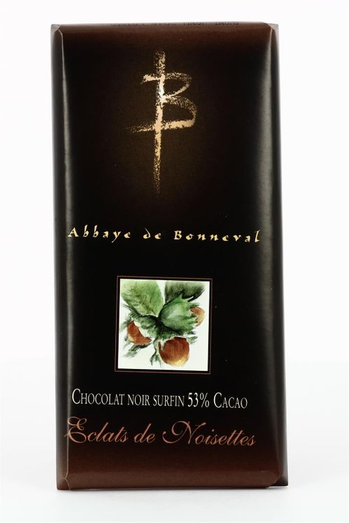 Chocolat noir surfin 53 % de cacao aux noisettes grillées, tablette de 100 g