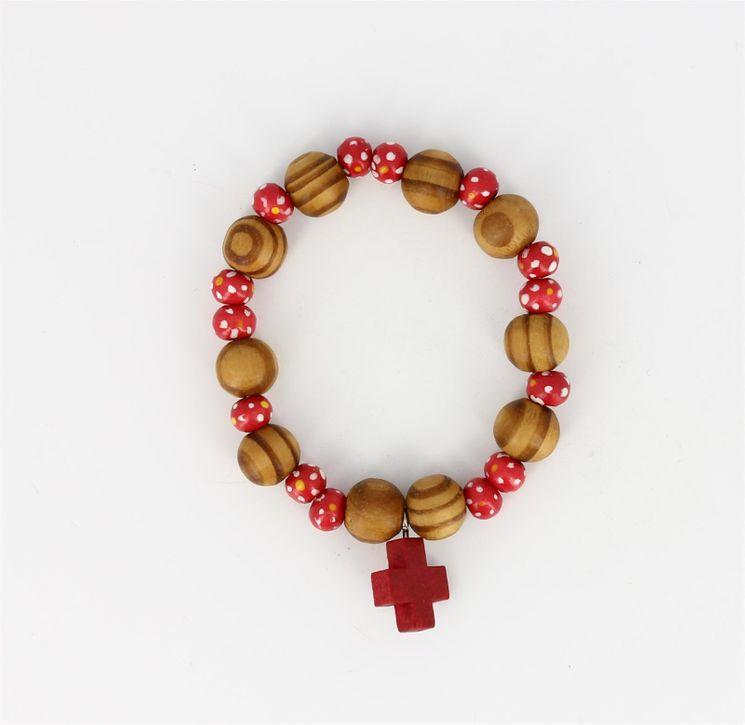 Bracelet Dizainier bois sur ruban élastique rouge - Diam 6 cm