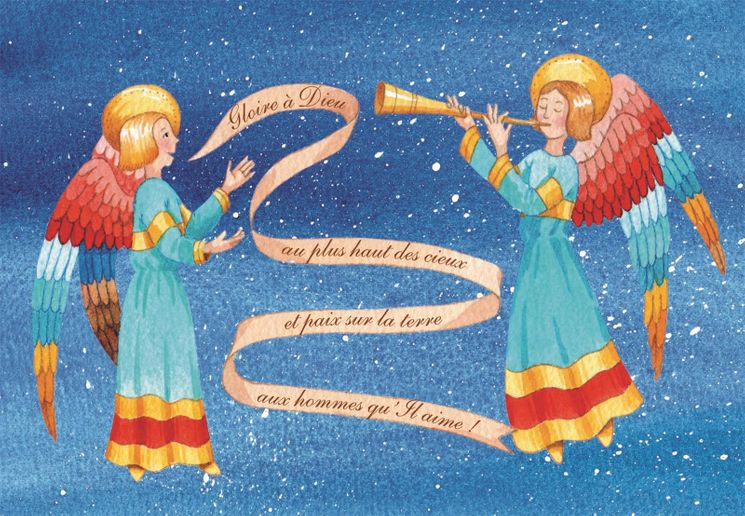 10 cartes doubles nuit de Noël - Gloire à Dieu