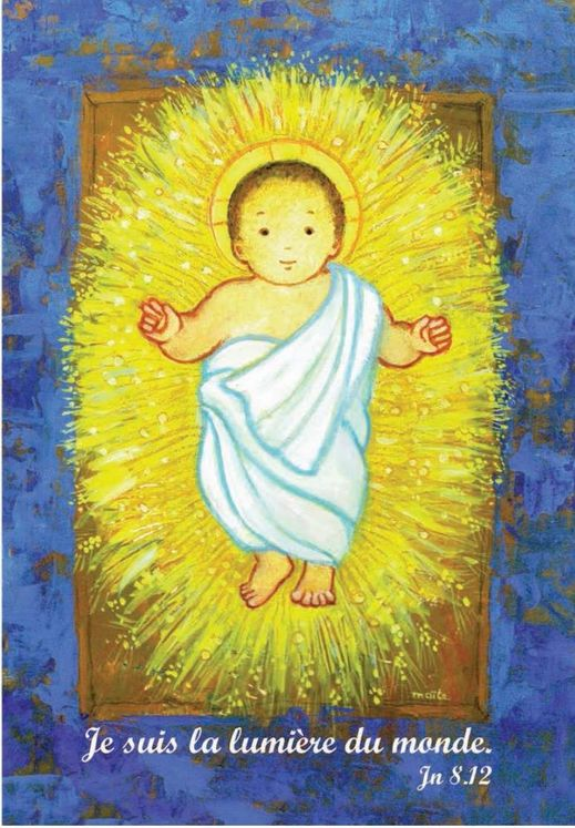 Lot de 10 - Cartes Doubles Maïté Roche Enfant-Jésus + enveloppes sous cello