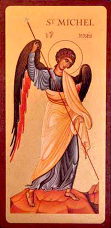 Icône qualité Or Archange Saint Michel 9 x 19 cm