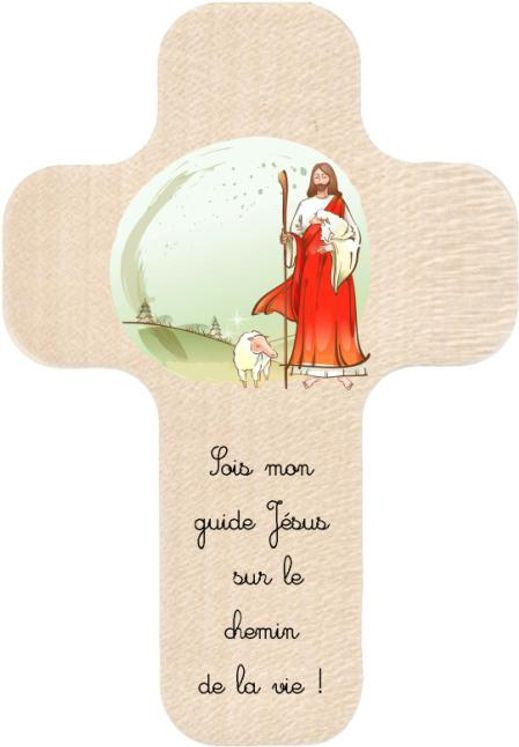 Croix en bois imprimée Jésus sois mon guide