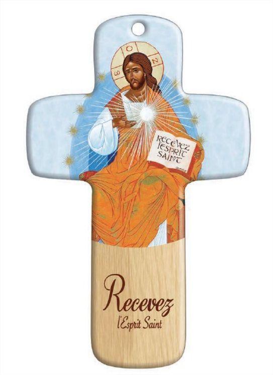 Croix en bois imprimée Recevez l´Esprit Saint