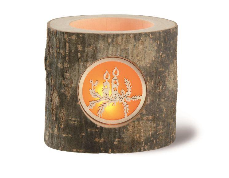 Photophore en bois sculpté décor bougie