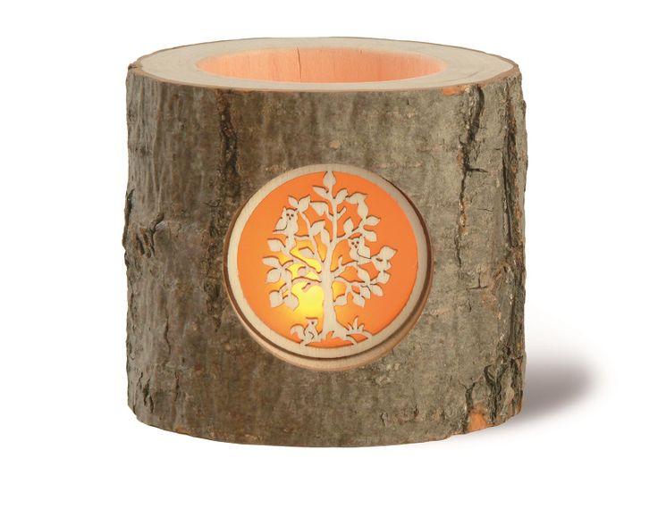 Photophore en bois sculpté décor Branche