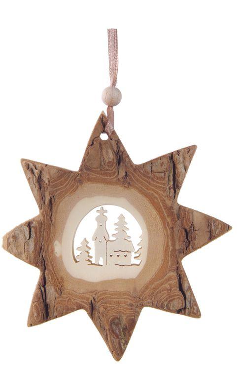 Décoration Noël Etoile et Église avec ficelle à suspendre