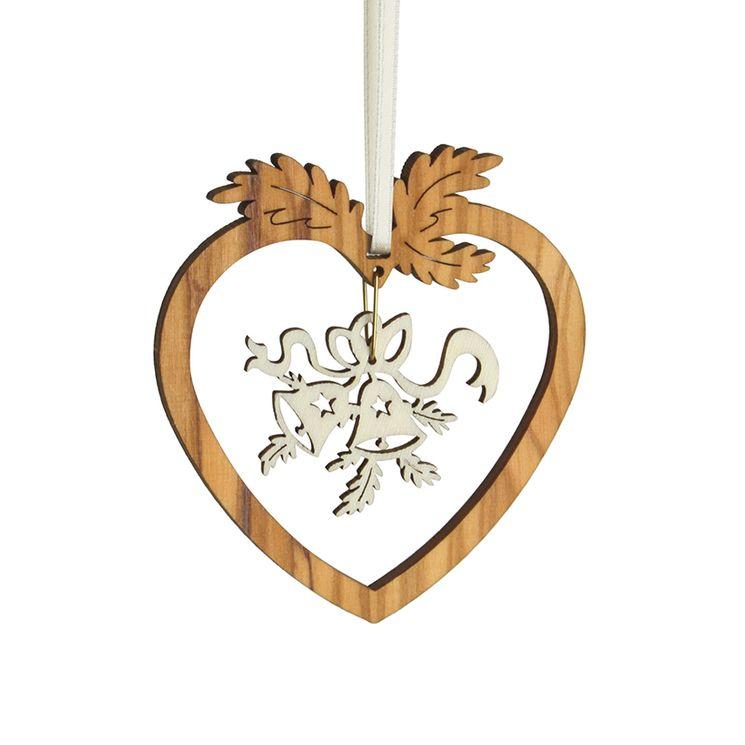 Décoration Noël Coeur et Cloche en bois d'olivier 6,5x7cm à suspendre