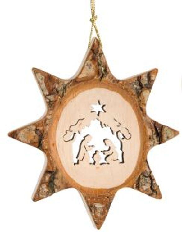 Décoration Noël Étoile avec la Sainte Famille à suspendre - 7.5 cm