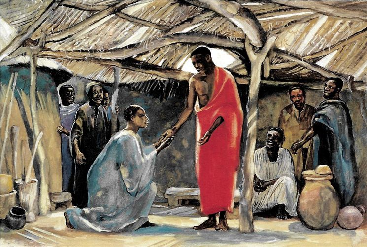 Jésus apparaît à Thomas  (Jn 20,24), Carte simple Vie de Jésus Mafa