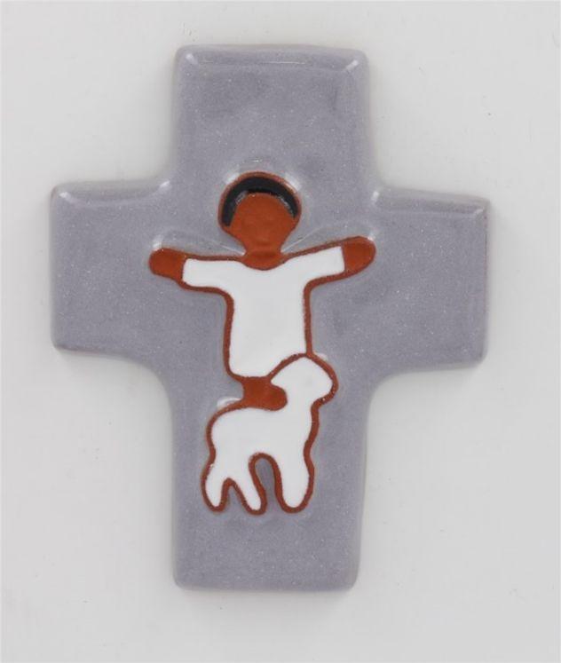 Croix céramique enfant et mouton 9.5 x 11.5 gris souris