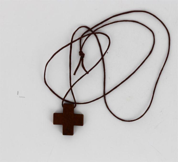 Croix grecque bois naturel