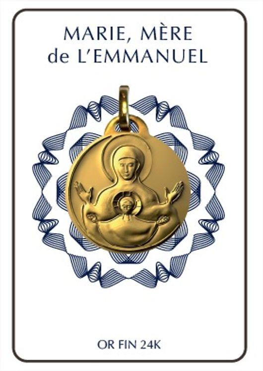 """Médaille """"Marie, Mère de l´Emmanuel"""" Plaqué or 24 Carat"""