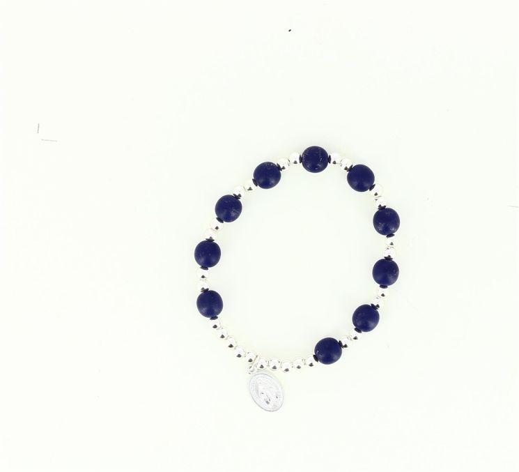 Bracelet dizainier perles verre et métal + médaille miraculeuse coloris bleu