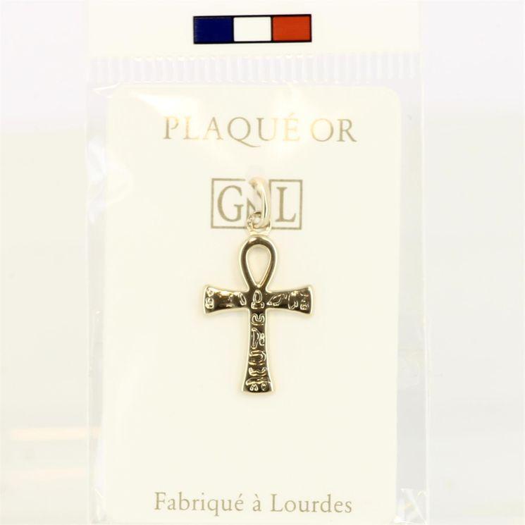 Croix de vie, plaqué-or 3 microns