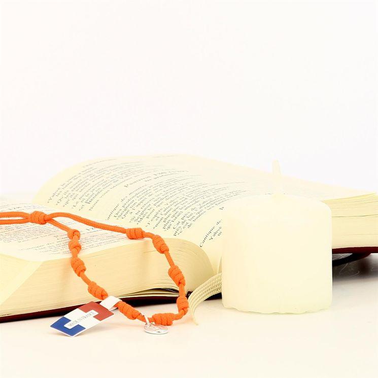 Bracelet dizainier cordon fluo orange et médaille miraculeuse