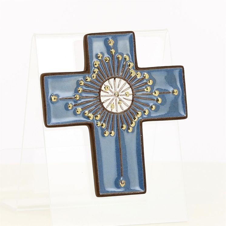 Croix céramique rayons or, fond bleu  9 x 8 cms